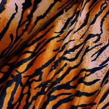 Orange & Black Tiger Stripe De Tela De Terciopelo Animal Print * Por Metro