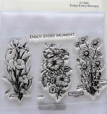CTMH C1395 Enjoy Every Moment Acrylic Clear Stamps Lilies Daisies Birthday Symp