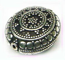 19mm oxidized 925 solid STERLING SILVER Bali nugget  flat oval BEAD focal B14