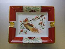 Hermès Aschenbecher Limoges Porzellan rot weiß gold Vogel ashtray leather