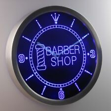 nc0245-b Barber Pole Shop Hair Cut OPEN Neon Sign LED Clock