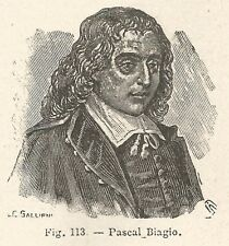 B1060 Blaise Pascal - Incisione antica del 1929 - Engraving