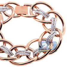 Womens Diamond Bracelet 18K Rose Gold 3.79 ct Wide Braided Link 7.5 Inches