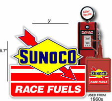 """6"""" SUNOCO RACING FUEL DECAL GAS AND OIL PUMP, SIGN, WALL ART STICKER a"""