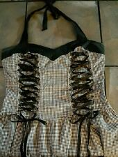 LIP SERVICE  DRESS GOTH USA MADE SZ M Plaid Black White Corset Halter