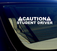 """Caution Student Driver Decal Sticker 8"""" - JDM Funny Die-Cut WHITE No Background"""