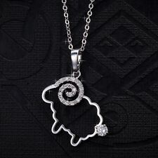 Cute Silver Plated Crystal Hollow Sheep Pendant Necklace Chain Women Jewelry New