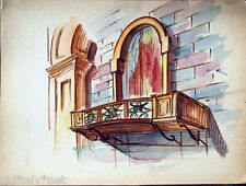 Acquerello '900 su carta Watercolor Architettura futurista cubista razionale-114