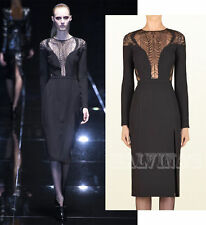 $3,000 RUNWAY GUCCI DRESS BLACK SILK CADY FERN LACE sz IT 40 / US 4