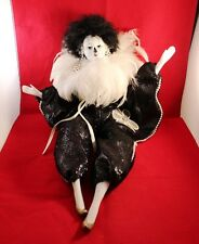 "Very Elegant 16"" Feathered Mardi Gras Doll Animated Music Box & Vintage Chair !!"