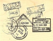 Travel Passport Collage Wood Mounted Rubber Stamp Impression Obsession D13021