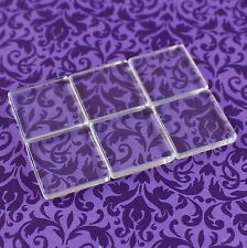 "20 Square Glass Tiles - 1 Inch Clear - Craft Necklaces Pendant Cabochon 1"" 25mm"