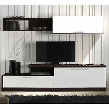 Mueble completo compacto de TV para salon comedor color wengue y blanco. 240cm