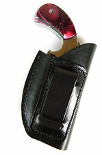 BLACK LEATHER IN-THE-PANTS IWB CLIP-ON HOLSTER for NAA 22 MAGNUM MINI REVOLVER