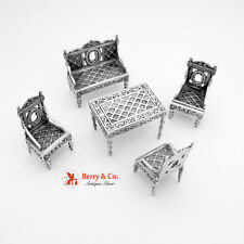 Miniature Furniture Set Table Bench Chairs 800 Silver 1880