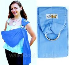New Walkabout 5 in 1 Baby Sling Ring Carrier Pouch Wrap Cotton LightBlue RRP$59