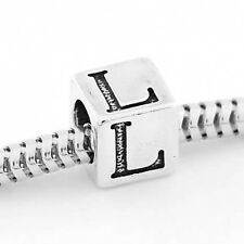 STERLING SILVER ALPHABET INITIAL L CUBE EUROPEAN BEAD