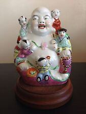 Fine Old Chinese Republic Famille Porcelain Buddha Five Children Statue SIGNED