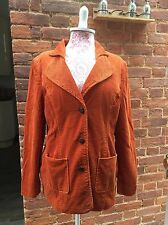Vintage 90s Orange Thick Cord Long Line Jacket Blazer 12/14