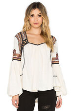 NEW FREE PEOPLE SNOW KISSES EMBROIDERED PEASANT TOP SZ XS EXTRA SMALL