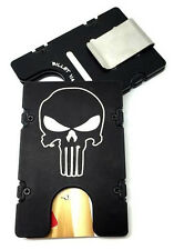Mens Aluminum Wallet, RFID protection, Black anodized, Punisher, Made In USA