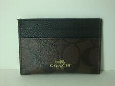 Coach Signature PVC card case Brown Black  F63279