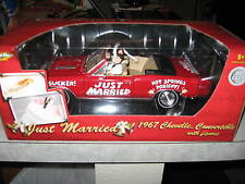 "1 18 ERTL 1967 CHEVELLE CONVERTIBLE IN RED ""JUST MARRIED"" WITH FIGURES 4EVRHAPY"