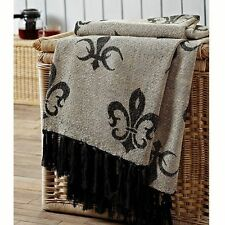 CHENILLE PARIS THROW : BLACK FLEUR DE LIS WOVEN FRENCH JACQUARD BLANKET