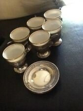 SIX (6) Vintage Sterling Silver w/Lenox China Demitasse Cups & Saucers