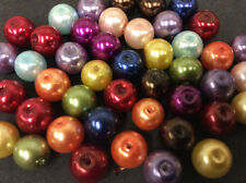 8mm Glass Round Pearl Beads Various Colours B003