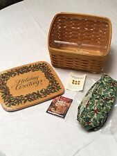 Longaberger Card Keeper Basket with Lid, American Holly Liner, Protector, Card