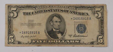 Old 1953-A One $5 Dollar Bill US Silver Certificate *STAR* Note Vintage Estate