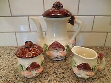 VINTAGE EMPRESS BY HARUTA JAPAN 3 PIECE TEA SET Teapot Creamer Sugar Mushrooms