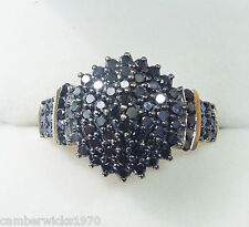 9ct Gold 1.00ct Black Diamond Cluster Ring, Size T