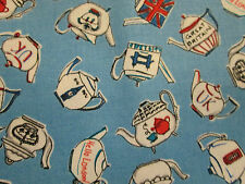TEA BRITISH LONDON UK TEA BLUE LONDON COTTON FABRIC FQ