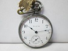 Antique Elgin Sterling Silver Non-Running Ladies Pocket Watch 15 Jewel