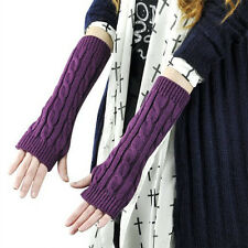 Fashion Women Winter Knitted Fingerless Gloves Warm Long Arm Gloves Mitten