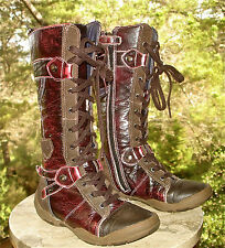 Geox Respira Oxblood Brown LEATHER Tall Boot Laces and Zipper Girls 31 USA 13