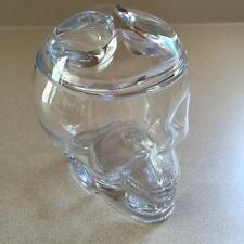 Clear Glass Skull Candy Dish Jar Container Halloween NEW