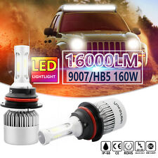 160W 16000LM CREE COB 9007 HB5 LED Headlight Kit Bulbs 6000K High Low Beam Power