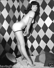 Bettie Page in Fishnets in Checkerboard room  5 x 7  Photograph