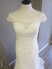 Maggie Sottero and Midgley Bridal Gown Amara Ivory size 12 Lace Off the Shoulder