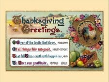 """+PC-Postcard-""""Thanksgiving Greetings""""-...with 4 Quotes"""" ...Classic-"""