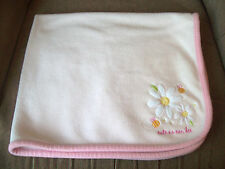 "Carter's Just OneYear ""Cute As Can Bee"" Pink Baby Blanket Daisies 32"" x 28"" Euc"