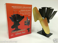 Gold Heat Powered Wood Stove Fan - High Quality 12 Month Warranty