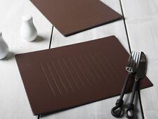 Set De 8 marrón en relieve en cuero regenerado Manteles Individuales De Mesa esteras Hecho En Reino Unido