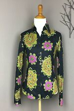 Etro Black Paisley Floral Button Down Cotton Shirt IT 40 US 4/6