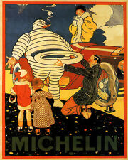 HAPPY FAMILY MICHELIN TIRES PNUES CAR AUTOMOBILE 8X10 POSTER REPRO FREE SHIPPING