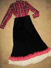 VICTORIAN Edwardian Titanic Music Man red plaid top/velour skirt costume 10