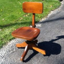 Antique / Vintage Government Emergency Mgt Office Wood 360 Chair On Wheels -nice